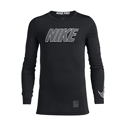 Nike Jungen Pro Long Sleeved T-Shirt, Black/White, XS