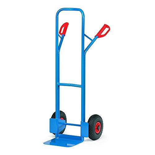 Fetra Stahlrohrkarre, Traglast 300 kg, Schaufel L 320 x 250 mm, Luftbereifung, H x B 1300 x 580 mm, blau