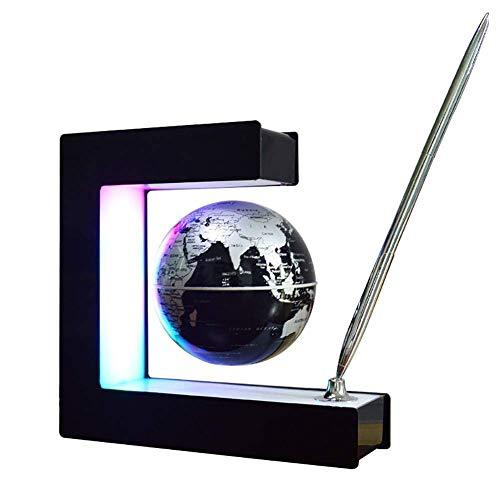NBVCX Decoración de la Vida LED Gradiente Ramp Light AntiGravity Levitation Magnetic Suspending Globe Mapa del Mundo Mesa Marco Cuadrado Lámpara Bola giratoria Decoración de Escritorio