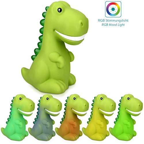 Navaris LED Nachtlicht Dino Design - Süße RGB Farbwechsel Nachttischlampe für Kinder - Kinderzimmer Nachtlampe - Schlummerlicht Lampe in Grün