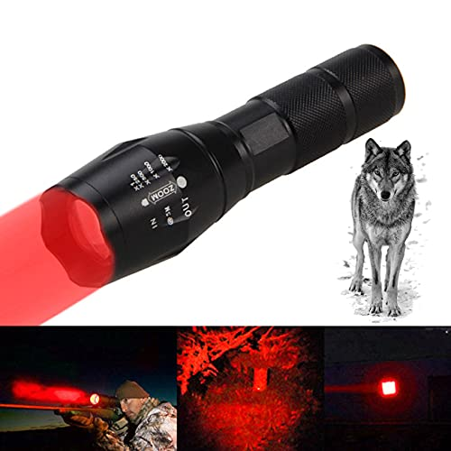 Ashtray A100 Hunting Predator Lights, Long Range Night Vision I-r Flashlight, with Pressure Switch, for Law Enforcement, Search, Rescue Military,Red