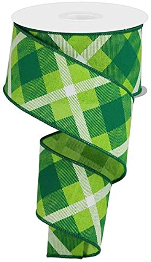 Plaid Canvas Wired Edge Ribbon, 10 Yards (Lime, Green, White, 2.5