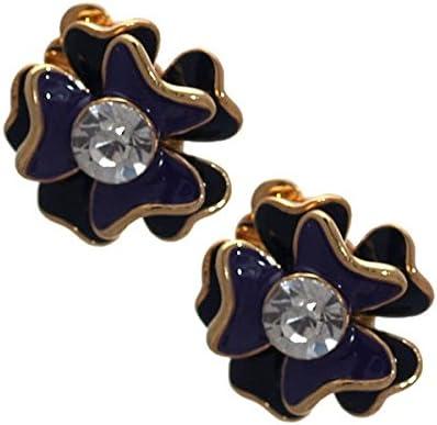 Ruari (Roree) Gold tone Black Purple Crystal Clip On Earrings