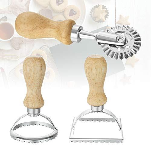 3 Pcs Ravioli Cutter, Stainless Steel Ravioli Maker Cutter and Pasta Cutter Wheel, Ravioli Mold with Wooden Handle and Fluted Edge, Pasta Tools Kitchen Attachment for Ravioli, Pasta, Dumplings Lasagna