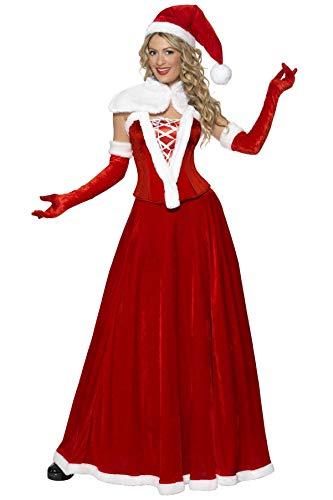 Smiffys Costume de Mère Noël de luxe, Rouge, avec bonnet, cape, corset, jupe et gants