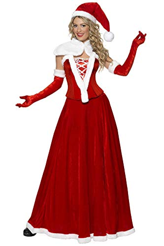 Fever, Damen Weihnachtsfrau Deluxe Kostüm, Mütze, Umhang, Korsett, Rock und Handschuhe, Größe: L, 36985