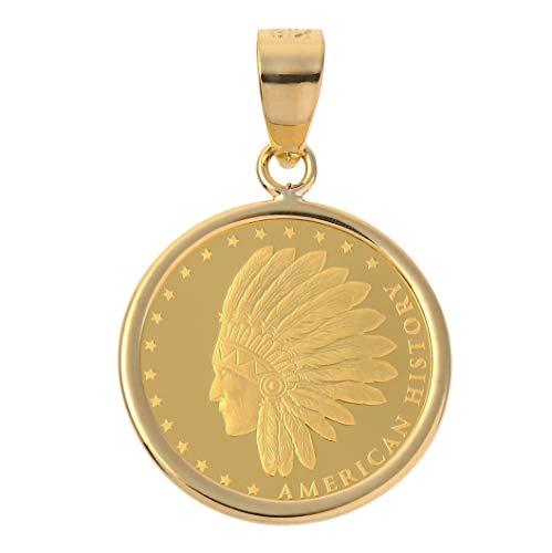 [フェアリーカレット] コインペンダントトップ ネイティブ・アメリカンとイーグルモチーフ 1/25oz 18金フレームの純金コイン