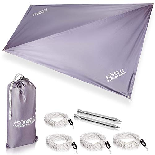 Foxelli Rain Tarp – Lightweight, Portable, Waterproof 12' Camping Tarp, Easy Set Up with Included...