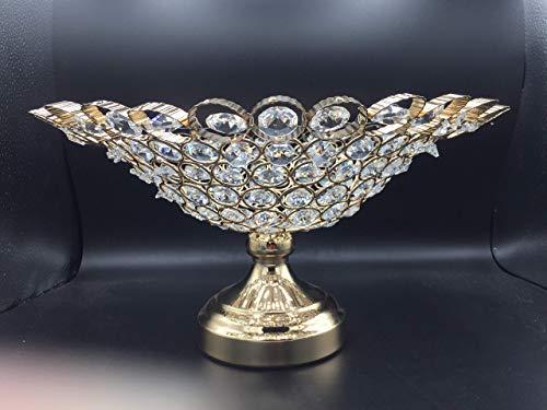ML candelabro Frutero Decorativo Comedor Arreglo de Frutas de Centro de Mesa de Cuentas Imitacion Cristal, Dorado Aluminio Fundido con simil Cristales facetas, decoración de Mesa, 31x31x19cm