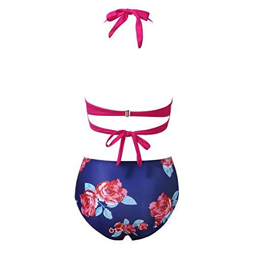 LMDGO Damen High Waist Bikini Push Up Zweiteiliger Badeanzug Bademode Bauchweg Hose Blumenmuster Gepolsterter Bikini Set Mit Hoher Taille Badeanzug Strandkleidung Strandwear
