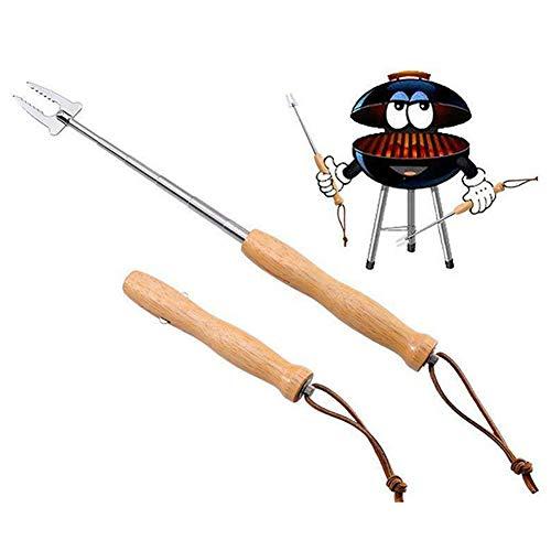 Kalaokei Outils de barbecue télescopique portable en acier inoxydable pour pique-nique, camping, barbecue avec manche en bois