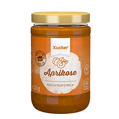 Xucker Fruchtaufstrich Aprikose gesüßt mit Xylit - 74% Früchte, im 220g Glas, Made in Berlin- vegan, ohne Gentechnik