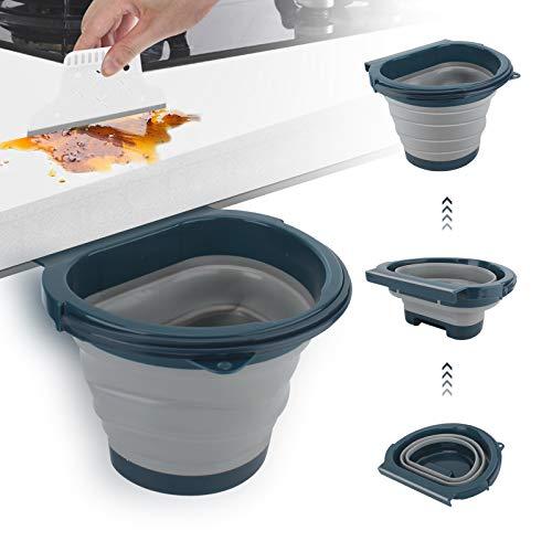 Eleganted Cubos de Basura Plegable Colgando,Bote de Basura Colgante Basurero Extraible para la Cocina, Dormitorio y Coche 4L (Gris)