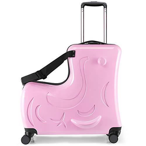 キッズキャリーケース C-J-W キャリーバッグ 子供用 スーツケース 子供が乗れる 木馬形 軽量 静音キャスター かわいい 小型 Mサイズ 丈夫 旅行 帰省 遠足 お出掛け便利 おもちゃ箱 保証付き ピンク