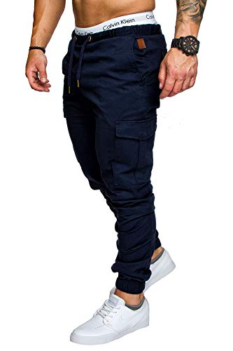 Amaci&Sons Jogger Cargo Herren Chino Jeans Hose 7001 Navyblau W36
