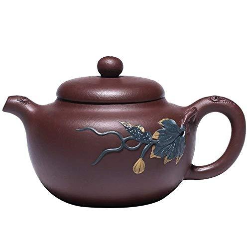 YAeelel Norte de Europa Wang Flor Tetera de Yixing Famoso Pintado a Mano Tetera de Arcilla púrpura Fruta Tetera de Juego de té Accesorios del té