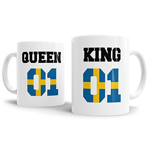 Tassendruck Flaggen-Tasse King & Queen - Schweden - Pokal/Mug/Cup/Becher/WM/Pärchen/Paare/Freunde/Beste Qualität - 25 Jahre Erfahrung