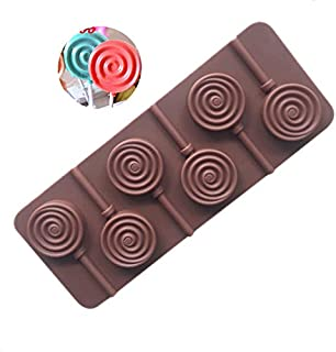 UG LAND INDIA 3D 6 Cavity Donut Silicone Lollipop Mold DIY Silicone Lolly Candy Mould Round Chocolate molds for Making Can...