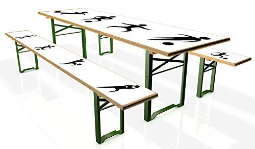 Wallario Tischdecke für Bierzeltgarnituren, selbstklebend, Folie für 1 Tisch und 2 Bänke - Motiv: Fußball - Piktogramme in schwarz weiß