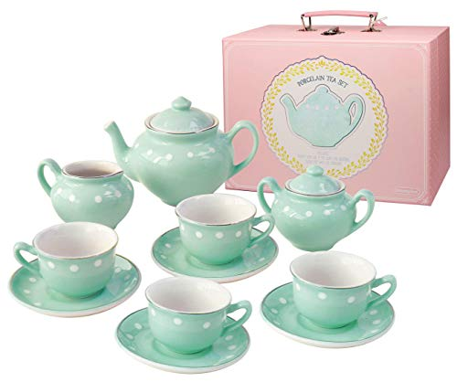 Bright Stripes Porcelain Tea Set 13 Piece in Deluxe Carry Case - Mint Green Pretend Play Set for Kids - Heirloom Quality Porcelain Tea Set for Kids