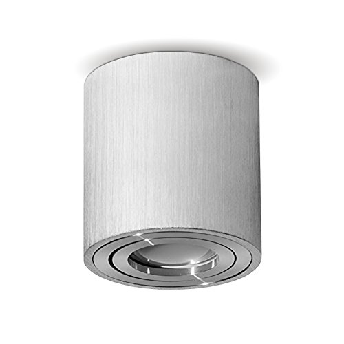JVS Aufbauleuchte Aufbaustrahler Deckenleuchte Aufputz Led Milano GU10 Fassung 230V rund, alu-silber , schwenkbar Deckenleuchte Strahler Deckenlampe Aufbau-Lampe CUBE Kronleuchter aus Aluminium