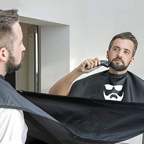 Beard Apron Beard Trimming Catcher Cape for Men Shaving & Hair Clippings Aksice, Non-Stick Hair Catcher Grooming Cloth, Waterproof, with 4 Suction Cups, Gifts for Men- Black