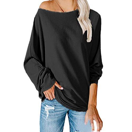 Tops/Blusas/Camisas/Camisetas para Mujer,MOMOXI Moda OtoñO Mujer Casual SóLido Manga Completa Cuello Redondo Estilo Callejero Blusa Suelta