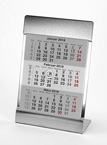 HiCuCo 3-Monats-Tischkalender für 3 Jahre (2020 + 2021 + 2022) - Aufstellkalender - Edelstahl - TypB