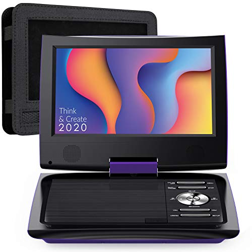 SUNPIN 11' Portable DVD Player for Car and Kids with 9.5 inch HD Swivel Screen, 5 Hour Rechargeable Battery, Dual Earphone Jack, Supports SD Card/USB/CD/DVD, with Extra Headrest Mount Case (Purple)