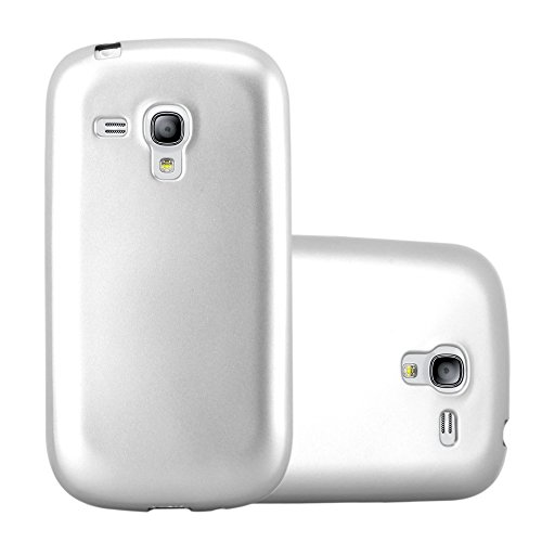 Cadorabo Hülle für Samsung Galaxy S3 Mini - Hülle in METALLIC Silber – Handyhülle aus TPU Silikon im Matt Metallic Design - Silikonhülle Schutzhülle Ultra Slim Soft Back Cover Case Bumper