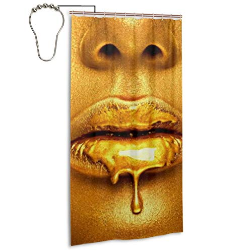 Shower Curtain,Gold Paint Drips from The Lips Lipgloss Dripping from Lips,Printed Pattern Machine Washable Home Bathroom Decorations 72x36 in