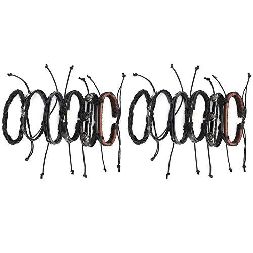 Pulsera trenzada hecha a mano de 12 piezas, pulsera de cuero de acero inoxidable para hombres / mujeres, regalo para amigos, pulsera familiar de cuero trenzado de múltiples capas para hombre