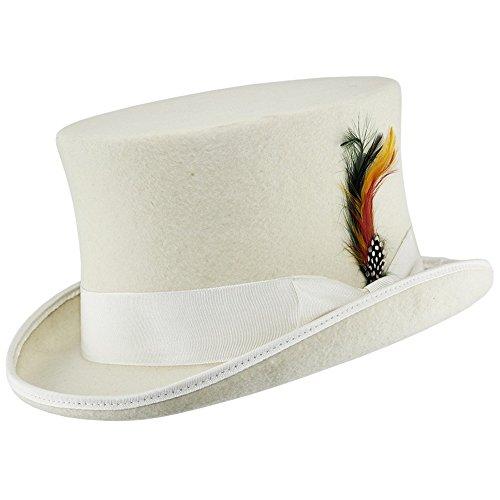 VIZ Blanc 100% Laine Doublure en Satin Mariage Cas Feutre Chapeau Haut-de-Forme avec Plumes - Blanc - Large