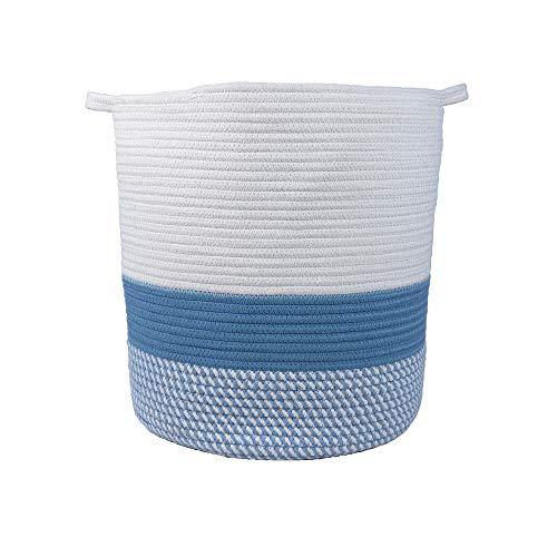 Furnily cesti in cotone con manici corda cestino grande pieghevole cesto portabiancheria in cotone basket per cameretta e bambini (bianco e blu), Off White and Blue, Cylinder