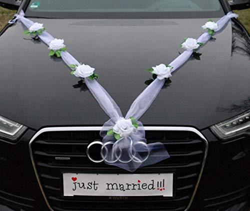 Organza M Auto Schmuck Braut Paar Rose Deko Dekoration Autoschmuck Hochzeit Car Auto Wedding Deko Girlande PKW (Reinweiß/Weiß)