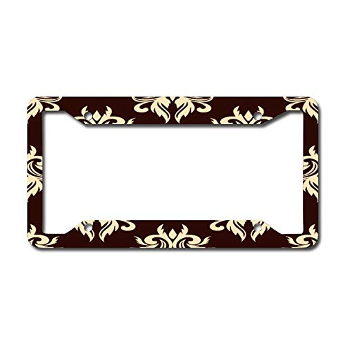 Personalized Front License Plates, Brown Damask Pattern Aluminum Metal License Plate Cover Frame for Car 6.3 X 12.2 Inch