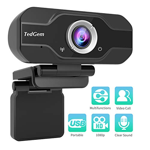 PC Webcam, TedGem 1080P Full HD Webcam USB Desktop & Laptop Webcam Live Streaming Webcam with Microphone Widescreen HD Video Webcam 90-Degree Extended View for Video Calling (HD Webcam)…