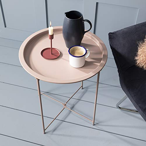 Noa and Nani - Metal Tray Side Table - (Pink)