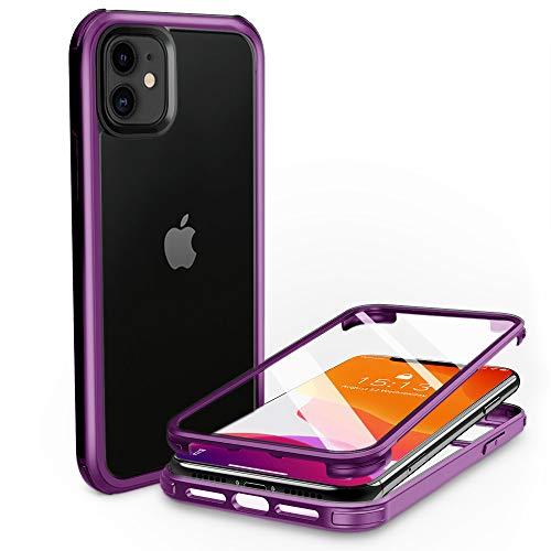 PHONEAURA Carcasa completa para iPhone 11 delantera y trasera de 360 grados, con dos protectores de pantalla (protección completa, carcasa doble), color morado
