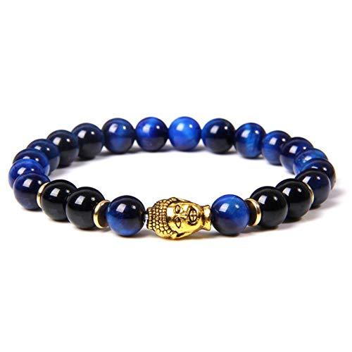 MU-PPX Stone Beads Bracelet Head Elastic Rope Lucky Bracelet for Men,Blue,21Cm
