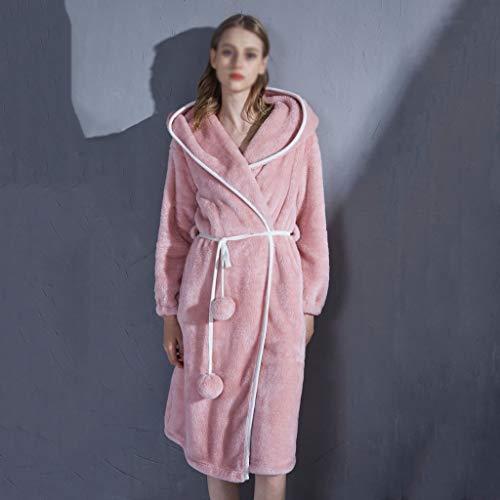 LXDWJ Ropa de Dormir de Invierno Túnica cálida para Mujer Robas de la Franela de la Franela Home Ropa para Las Mujeres Lindo camisón Peluche Vestido de Vestir