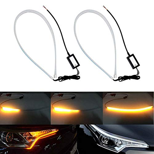 HopeU5/® White//Amber Car Headlights DRL Led Lights 2x 30cm Dual-color Switchback Strip Tube Style Angel Eye Tear Decorative Light Turn Signal Lamp