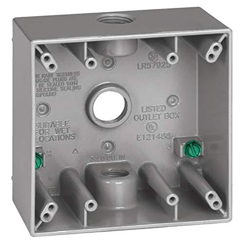 Sigma Electric, Gray 14352 3/4-Inch 3 Hole 2-Gang Box