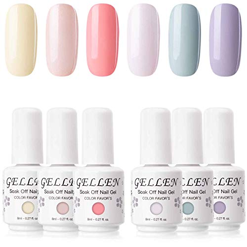 Gellen Gel Nail Polish Set - Macaron Series 6 Colors, Popular Girly Fresh Nail Art Bright Colors Trendy UV LED Soak Off Nail Gel Manicure Kit