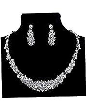 Monili orecchini collana di cristallo splendido nuziale di promenade di strass per bigiotteria