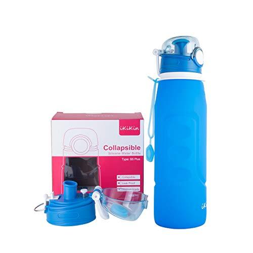 iKiKin Botellas de Agua Plegable -1000ML, Sin BPA, Silicona a Prueba de Fugas Botella de Agua Plegable y Portátil para Deportes, Al Aire Libre, Viaje, Acampada, Picnic, Senderismo 35 OZ (Azul)