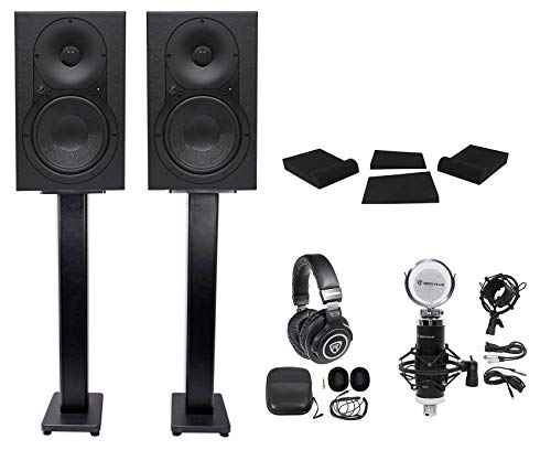 Best Bargain (2) Mackie XR624 6.5 Powered Studio Monitors+Stands+Pads+Headphones+Mic+Mount