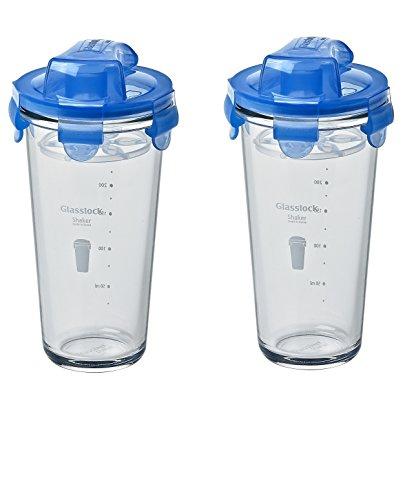 GLASSLOCK (2X PC-318-ML, 2X 450ml Blau, Shaker aus Glas - Shaker Typ
