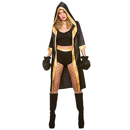 Wicked Costumes Disfraz de Boxeador Mujer Adulta Negra / Oro Sexy Knockout (Talla x-pequeña 34-36)
