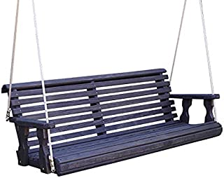 CAF Amish Heavy Duty 800 Lb Roll Back Treated Porch Swing with Hanging Ropes (4 Foot, Semi-Solid Black Stain)